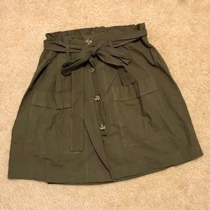 Charlotte Russe army green button up skirt